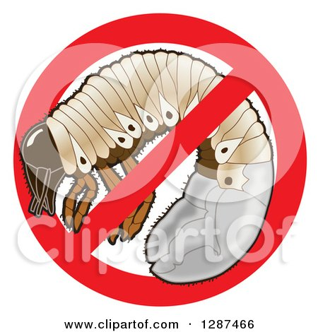 Clipart of a Lawn Care Design of a Grub in a Prohibited Symbol - Royalty Free Vector Illustration by Toons4Biz