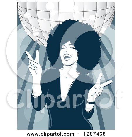 Clipart of a Fashionable Black Woman with an Afro, Dancing Under a Disco Ball - Royalty Free Vector Illustration by David Rey