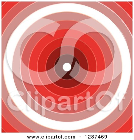 Clipart of a Background of Red and White Rings Forming a Dartboard or Tunnel - Royalty Free Illustration by Arena Creative