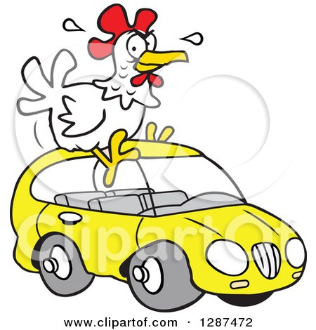 Clipart of a Cartoon White Chicken Sitting on a Yellow Hatchback Car - Royalty Free Vector Illustration by Johnny Sajem