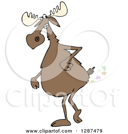 Clipart of a Moose Walking Upright and Farting - Royalty Free Vector Illustration by djart