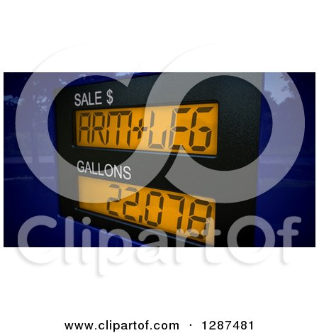 Clipart of a 3d Arm and a Leg Price Meter on a Gas Pump over a Map - Royalty Free Illustration by stockillustrations