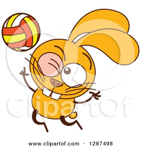 Clipart of a Cartoon Yellow Rabbit Playing Volleyball - Royalty Free Vector Illustration by Zooco