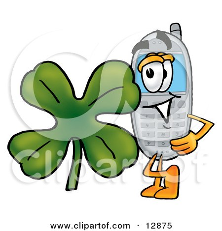 Clipart Picture of a Wireless Cellular Telephone Mascot Cartoon Character With a Green Four Leaf Clover on St Paddy's or St Patricks Day by Toons4Biz