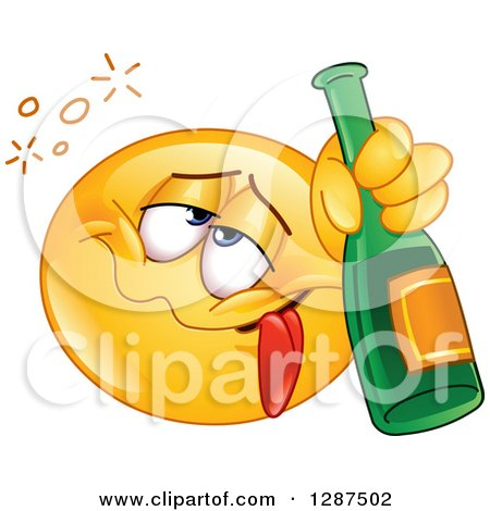 Clipart of a Drunk Yellow Emoticon Smiley Face Holding a Bottle of Champagne - Royalty Free Vector Illustration by yayayoyo