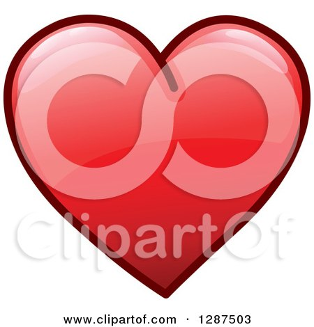 Clipart of a Reflective and Shiny Red Heart Icon - Royalty Free Vector Illustration by yayayoyo