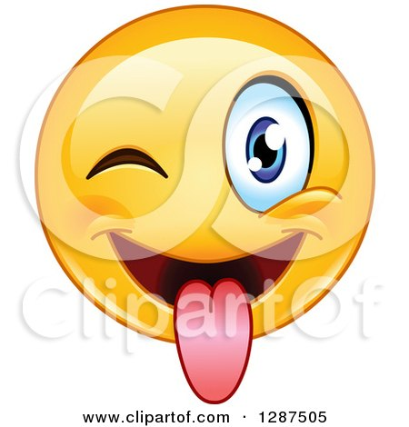 Clipart of a Yellow Emoticon Smiley Face Winking and Sticking His Tongue out - Royalty Free Vector Illustration by yayayoyo