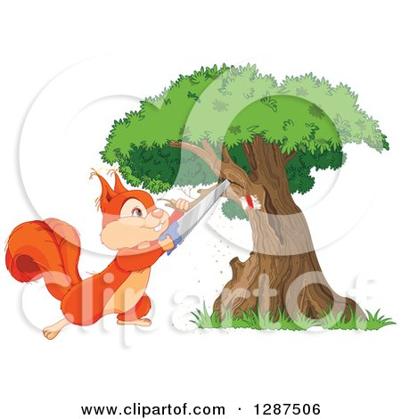 Cute Happy Squirrel Sawing a Branch off of a Marked Tree Posters, Art Prints