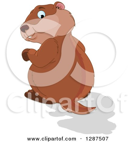Clipart of a Cute Groundhog Looking Back at His Shadow - Royalty Free Vector Illustration by Pushkin