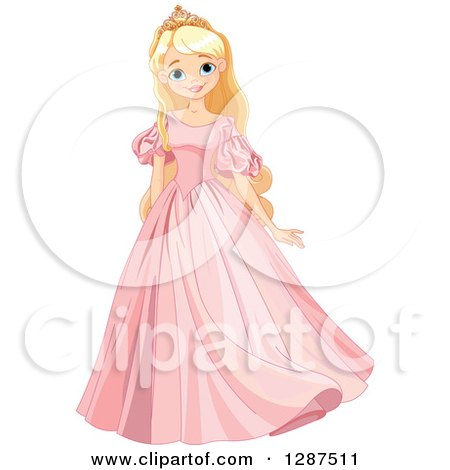 Clipart Of A Happy Blond Blue Eyed Caucasian Princess Posing In A Pink Dress Royalty Free Vector Illustration