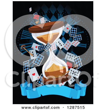 Clipart of an Alice in Wonderland Themed Hourglass with Playing Cards, Roses, Keys and Blank Banner over a Clock on Black - Royalty Free Vector Illustration by Pushkin