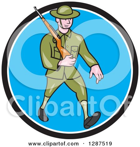 Clipart of a Cartoon World War I British Soldier Marching with a Rifle in a Black White and Blue Circle - Royalty Free Vector Illustration by patrimonio