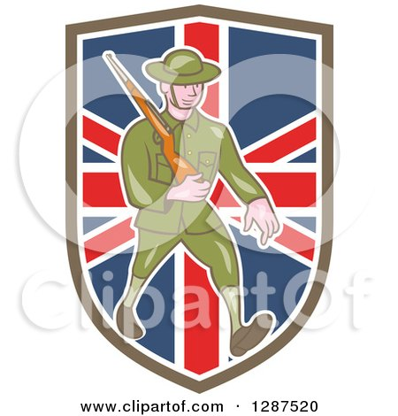 Clipart of a Cartoon World War I British Soldier Marching with a Rifle in a Union Jack Shield - Royalty Free Vector Illustration by patrimonio