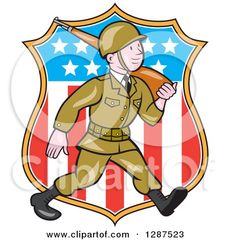 Clipart of a Cartoon World War II Soldier Marching with a Rifle over an American Shield - Royalty Free Vector Illustration by patrimonio