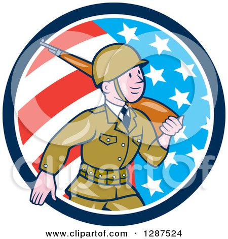 Clipart of a Cartoon World War II Soldier Marching with a Rifle in an American Flag Circle - Royalty Free Vector Illustration by patrimonio