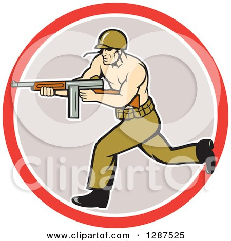 Clipart of a Cartoon Army Soldier Running with a Tommy Gun in a Red White and Gray Circle - Royalty Free Vector Illustration by patrimonio