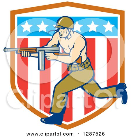 Clipart of a Cartoon Army Soldier Running with a Tommy Gun over an American Shield - Royalty Free Vector Illustration by patrimonio