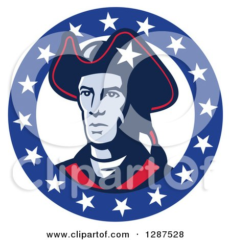 Clipart of a Retro American Patriot Minuteman Revolutionary Soldier in a Circle of Stars - Royalty Free Vector Illustration by patrimonio