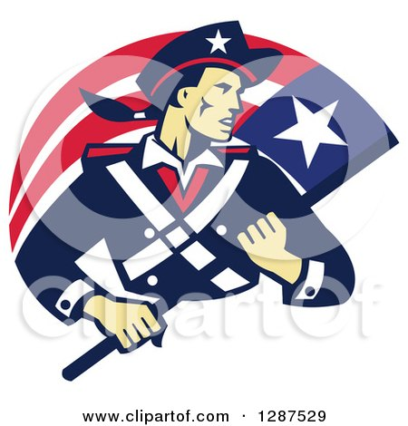 Clipart Of A Retro American Patriot Minuteman Revolutionary Soldier With A Flag Banner Royalty Free Vector Illustration