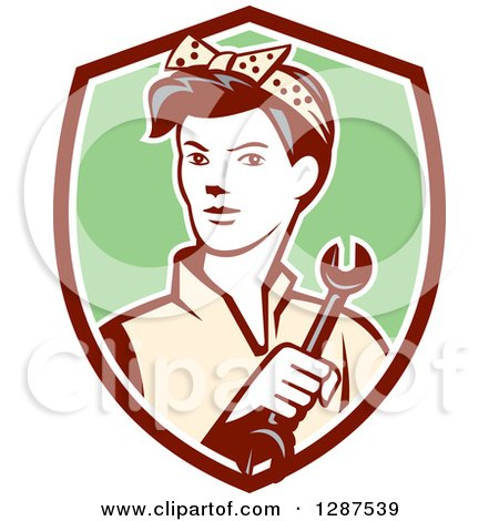 Clipart of a Retro Female Mechanic Holding a Wrench in a Maroon White and Green Shield - Royalty Free Vector Illustration by patrimonio