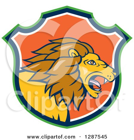 Clipart of a Cartoon Roaring Male Lion Head in a Green Blue White and Orange Shield - Royalty Free Vector Illustration by patrimonio