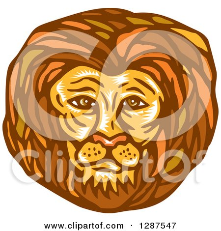 Clipart of a Retro Woodcut Male Lion Face - Royalty Free Vector Illustration by patrimonio