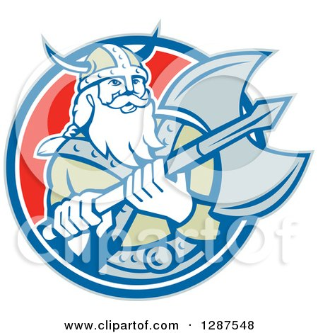Clipart of a Retro Male Viking Warrior with a Battle Axe in a Blue White and Red Circle - Royalty Free Vector Illustration by patrimonio