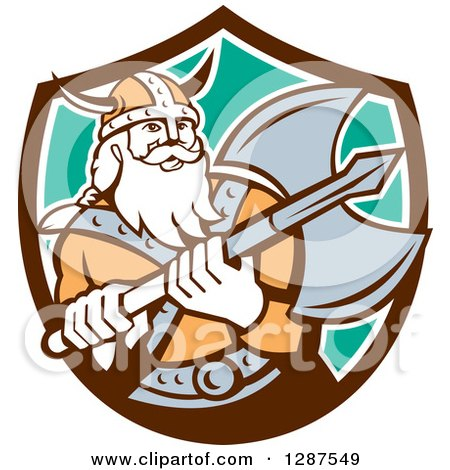 Clipart of a Retro Male Viking Warrior with a Battle Axe in a Brown White and Turquoise Shield - Royalty Free Vector Illustration by patrimonio
