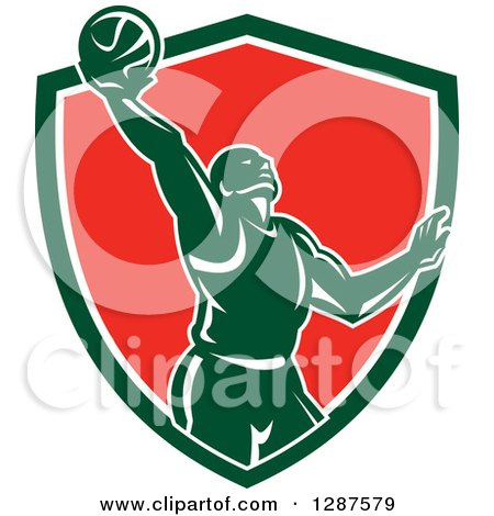 Clipart of a Retro Silhouetted Basketball Player Doing a Layup in a Green White and Red Shield - Royalty Free Vector Illustration by patrimonio