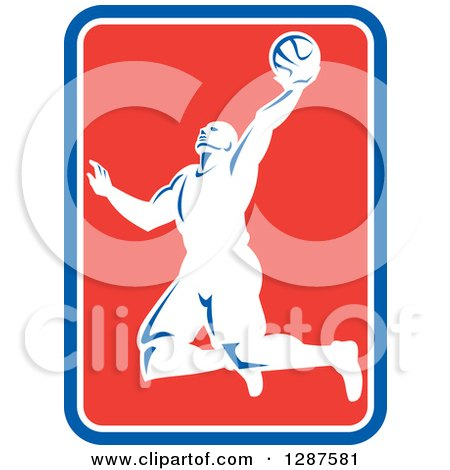 Clipart of a Retro Silhouetted Basketball Player Doing a Layup in a Blue White and Red Rectangle - Royalty Free Vector Illustration by patrimonio