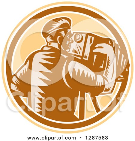 Clipart of a Retro Woodcut Male Photographer Using a Vintage Bellows Camera in a Brown White and Tan Circle - Royalty Free Vector Illustration by patrimonio
