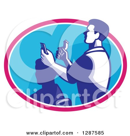 Clipart of a Retro Male Barber Cutting a Client's Hair with Clippers in a Pink White and Blue Oval - Royalty Free Vector Illustration by patrimonio