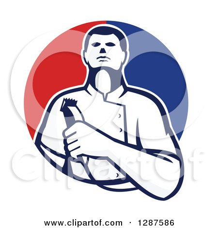 Clipart of a Retro Male Barber Holding Clippers in a Half Red and Blue Circle - Royalty Free Vector Illustration by patrimonio