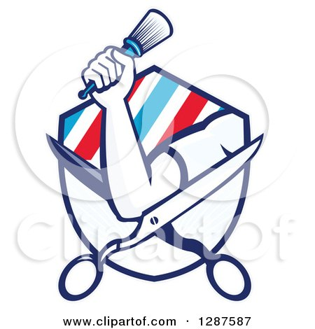 Clipart of a Retro Barber's Hand Holding a Brush on Open Scissors in a Ray and Stripe Shield - Royalty Free Vector Illustration by patrimonio