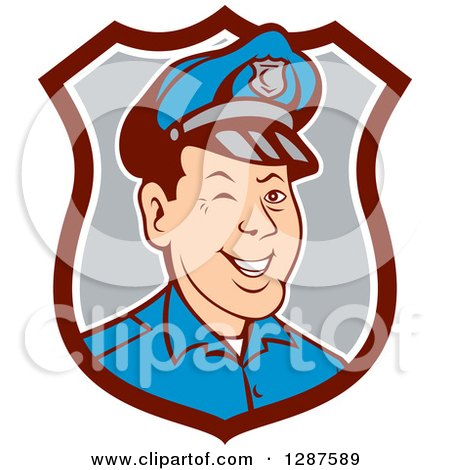 Clipart Of A Retro Cartoon Winking White Male Police Officer In A Brown White And Gray Shield Royalty Free Vector Illustration