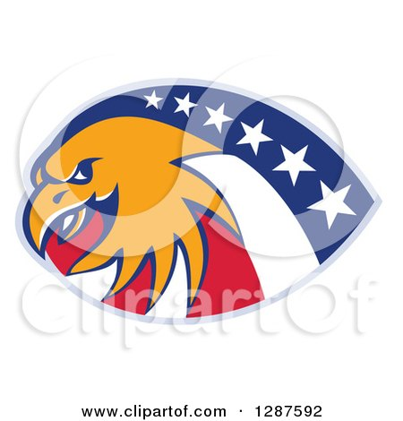 Clipart of a Bald Eagle and American Flag Design - Royalty Free Vector Illustration by patrimonio