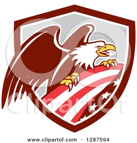 Clipart of a Bald Eagle Perched on an American Flag in a Brown White and Gray Shield - Royalty Free Vector Illustration by patrimonio