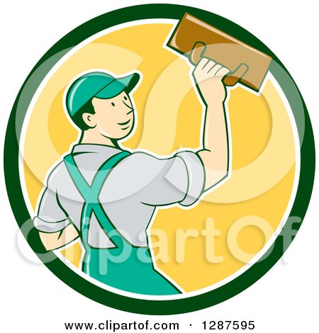 Clipart of a Retro Cartoon White Male Plasterer in a Green White and Yellow Circle - Royalty Free Vector Illustration by patrimonio