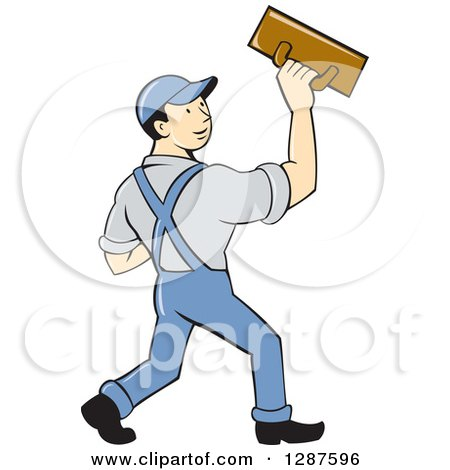 Clipart Of A Retro Cartoon White Male Plasterer Worker Royalty Free Vector Illustration