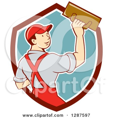 Clipart Of A Retro Cartoon White Male Plasterer In A Maroon White And Turquoise Shield Royalty Free Vector Illustration