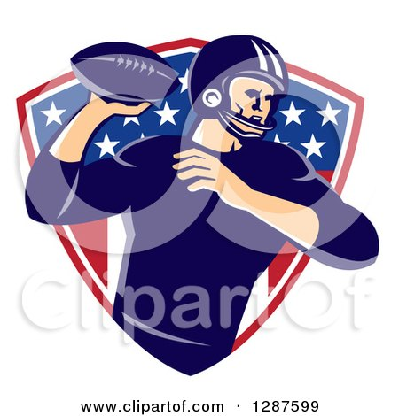 Clipart of a Retro American Football Player Passing the Ball over an American Shield - Royalty Free Vector Illustration by patrimonio