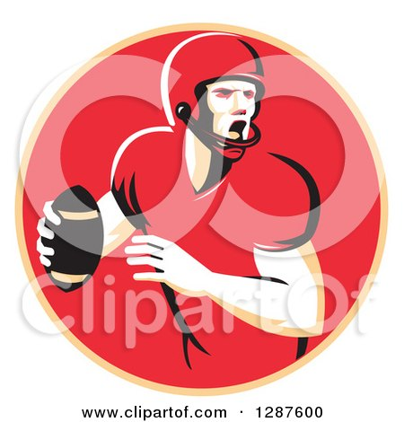 Clipart of a Retro Male American Football Player Shouting and Passing the Ball in a Pastel Orange and Red Circle - Royalty Free Vector Illustration by patrimonio