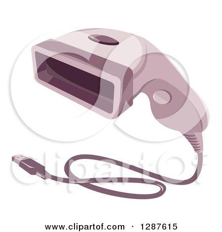 Clipart of a Bar Code Scanner Reader Gun with a Usb Cable - Royalty Free Vector Illustration by patrimonio