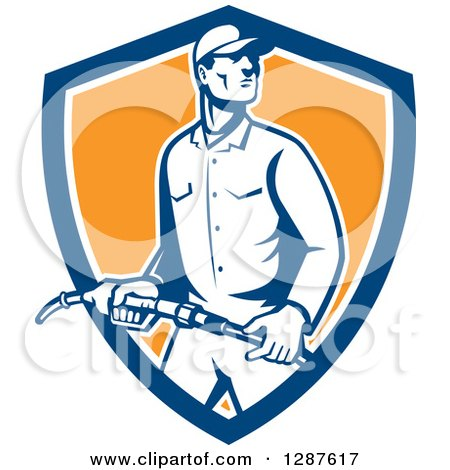 Clipart of a Retro Gas Station Attendant Jockey Holding a Nozzle in a Blue White and Orange Shield - Royalty Free Vector Illustration by patrimonio
