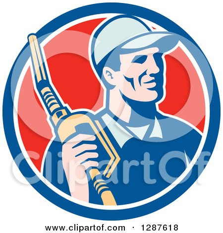 Clipart of a Retro Gas Station Attendant Jockey Holding a Nozzle in a Blue White and Red Circle - Royalty Free Vector Illustration by patrimonio