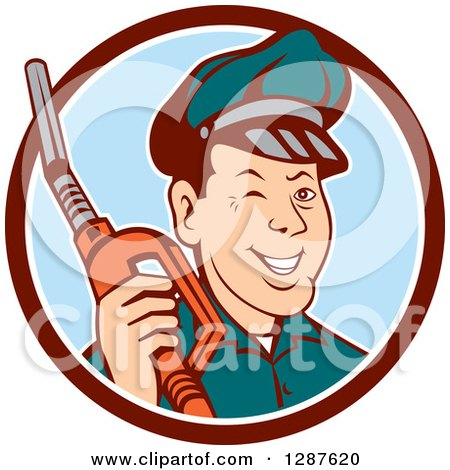 Clipart of a Retro Cartoon Winking Gas Station Attendant Jockey Holding a Nozzle in a Brown White and Blue Circle - Royalty Free Vector Illustration by patrimonio