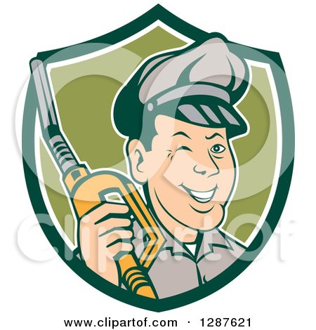Clipart of a Retro Cartoon Winking Gas Station Attendant Jockey Holding a Nozzle in a Green and White Shield - Royalty Free Vector Illustration by patrimonio