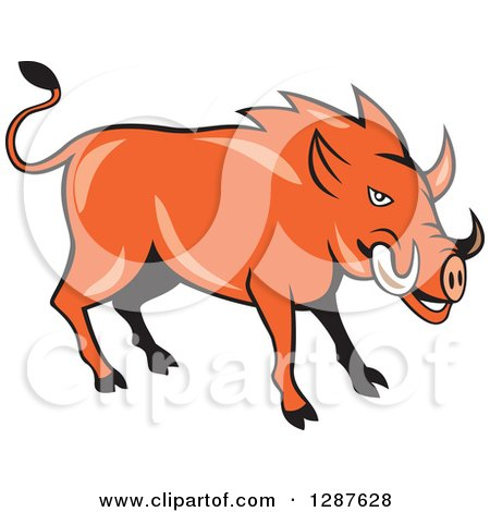 Clipart Of A Cartoon Wild Razorback Boar Pig Royalty Free Vector Illustration