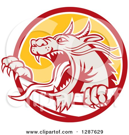 Clipart of a Retro Roaring Dragon Emerging from a Red White and Yellow Circle - Royalty Free Vector Illustration by patrimonio