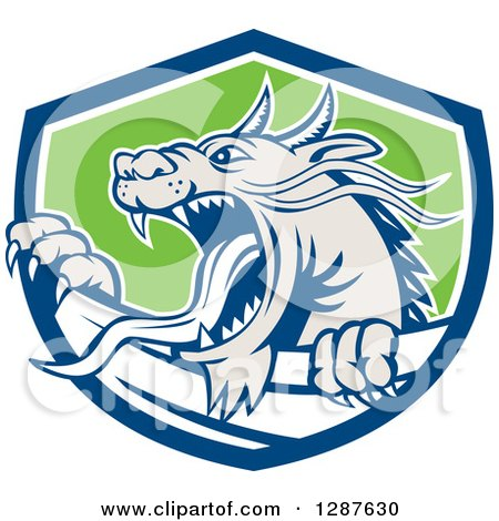 Clipart of a Retro Roaring Dragon Emerging from a Blue White and Green Shield - Royalty Free Vector Illustration by patrimonio